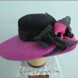 Fuschia and Black Felt Andre Derby Hat